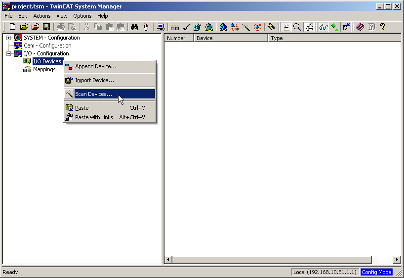 S7-SoftPLC:Configuration TwinCAT I/O - IBHsoftec Wiki English