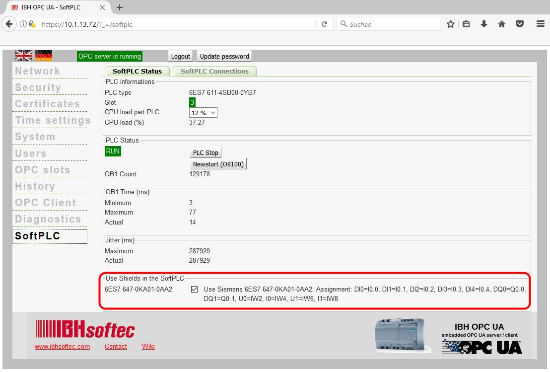 IBH OPC UA IoT2040:Siemens IOT200 Inputs / Outputs